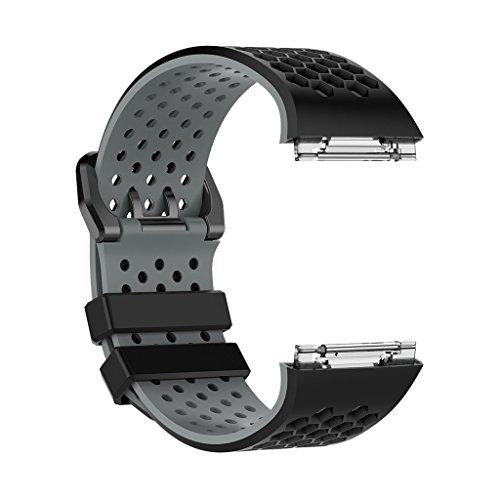 DYNWAVE Pulseira esportiva de silicone macio para relógio inteligente iônico - preto-cinza