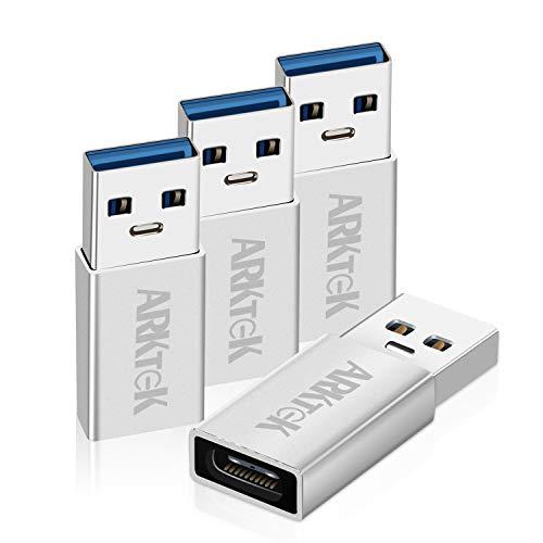ARKTEK Adattatore USB C a USB 3.0, Adattatore USB C Femmina a USB A Maschio Materiale Durevole, Adattatore per Ricarica e Trasmissione Dati per Samgung S9 / S8, Google Pixel, Huawei (4 Pezzi)