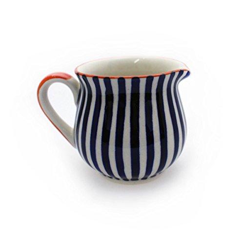 Gall&Zick Milchkanne Milch Kanne Milchkännchen Milchkrug Krug Keramik Bemalt Sahnekännchen Sahnespender Kännchen (Auswahl) (Dicke Streifen)