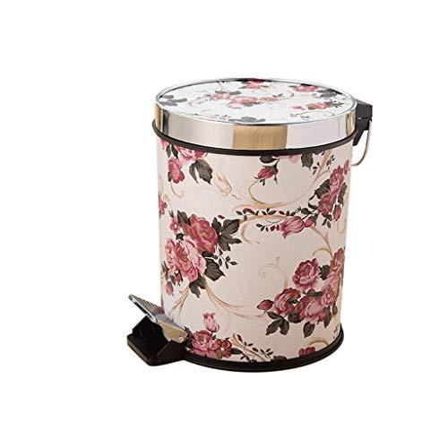 JJW Rubbish Recycle Bins Pedal hogar Bote de Basura, Grande de Cuero con Tapa Cubos de Basura, 3.1 galones de Capacidad, for baño, Dormitorio, Oficina, Cocina, Varios Estilos...