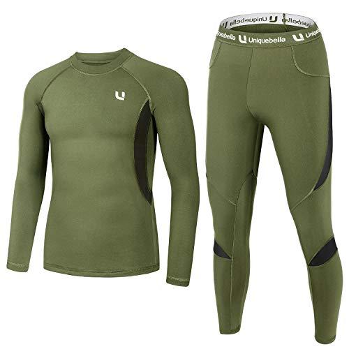 UNIQUEBELLA Ensemble de sous-Vêtement Thermique, Manches Longues pour Homme XL Vert