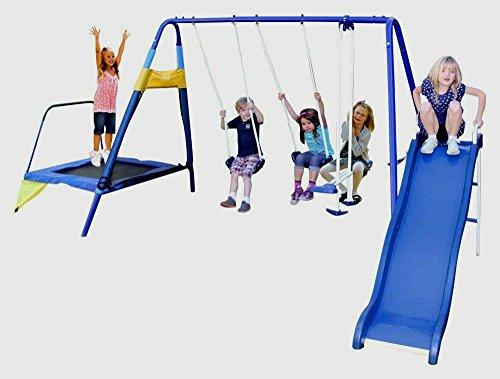 Skroutz Metal Swing and Slide Set and Trampoline Kids Outdoor Play Set Durable Construction Deals