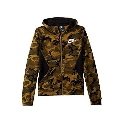 Nike Jungen B NSW Club Fleece FZ AOP Jacket, grün (Olive Flak/Black/White), XS