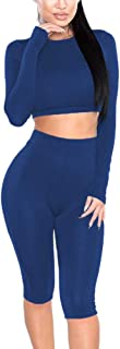 Amilia Womens Sexy Long Sleeve Crop Tops High Waist Leggings 2 Piece Bodycon Set Casual Outfit Tracksuit