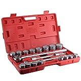 Ausla Juego de llaves de vaso y puntas, 21 unidades de 3/4 pulgadas, maletín de carraca, juego de llaves de vaso con herramientas