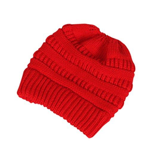 Autone Wintermütze, warm, gestrickt, mit Pferdeschwanz, elastisch, elastisch, rot, Elasticity
