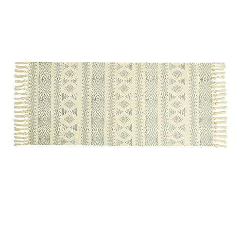 CiCiwind Alfombra de algodón Lavable Crema y Azul Impreso de alfombras Corredor de la Vendimia con Las borlas de algodón Tejido de alfombras para Cocina Lavable a máquina alfombras Mats 60X130cm