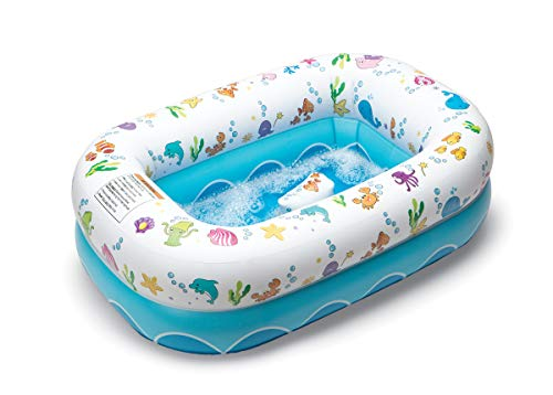 Mommy's Helper Inflatable Bathtub for Baby & Toddler, Saddle Horn Baby Bath Seat Keeps Baby from Sliding