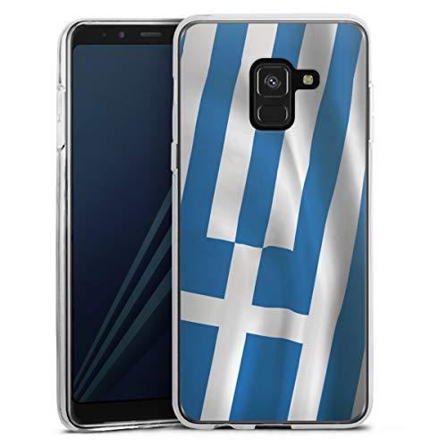 DeinDesign Silikon Hülle kompatibel mit Samsung Galaxy A8 Duos 2018 Hülle transparent Handyhülle Griechenland Flagge Flaggen