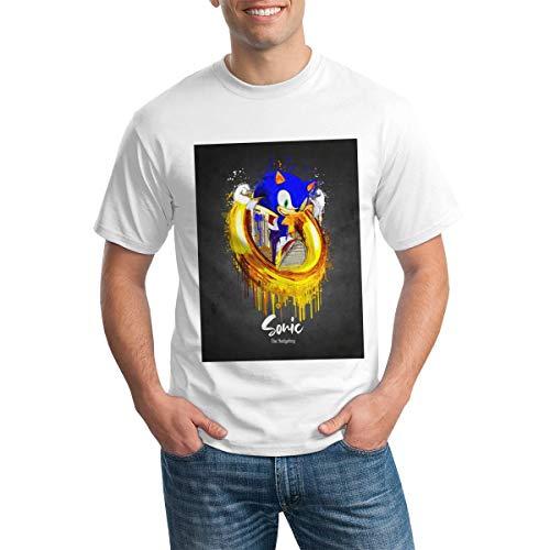 So-Nic The Hedg-Ehog Camiseta de algodón de Manga Corta Ajustada para Hombre BlackSmall White