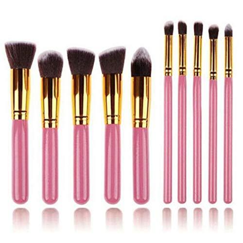 LIXIAQ1 10 Pcs Brosses Cosmétiques Eyeliner Poudre Contour Foundation Buffing Concealer Brush Kit