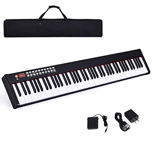 Costzon BX-II 88-Key Portable Touch Sensitive Digital Piano, Upgraded Electric Keyboard with MIDI/USB Keyboard, Bluetooth, Dynamics Adjustment, Sustain Pedal, Power Supply, and Black Handbag (Black)