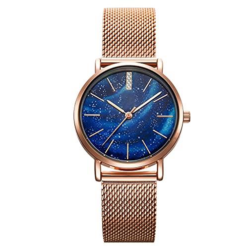La Correa de Malla, el Reloj de Las Mujeres, el Espejo Resistente al Desgaste Mineral, la Correa de Acero Inoxidable, se Puede Dar a la Esposa, Amante, Novia (Color : Blue)