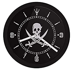 N /A Wall Clock Digital Pirate Wall Clock with Led Illumination Skull with Crossed Swords Led Neon Sign Wall Clock Pub Bar Led Wall Decor Suitable for Shop Bars