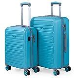 SKPAT - Set di 2 valigie con USB 4 ruote Trolley ABS. Rigide, resistenti, e leggere. Lucchetto TSA integrato. Misure Piccola e Mediana. Qualità e dissegno. 175015, Color Turchese