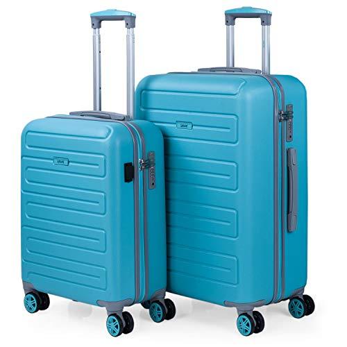 SKPAT - Juego de Maletas de Viaje Ligeras 2 Pzs. Set Trolley ABS 4 Ruedas (Cabina + Mediana) Rígidas y Resistentes. Conjunto Equipaje Avión 175015, Color Turquesa