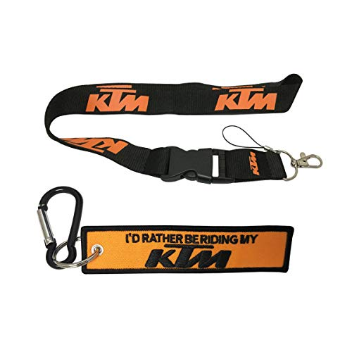 Ewein 1pc Orange Lanyard + 1pc Tag Embroidered Keychain D Shape Carabiner Clip Motorcycle Superbike Scooter Car ATV UTV House Keys Chain Office ID Biker Accessories Works with (KTM)