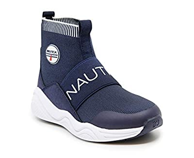 Nautica Kids Boys Silas Youth High-Top Sock Slip-On Sneaker with Extra Ankle Support-Navy-13