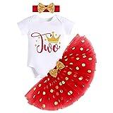 FYMNSI Conjunto de ropa de 3 piezas para bebé o niña, de manga corta, de algodón, con falda de lunares y cinta para la cabeza, para fiestas de cumpleaños Red-Two 2 Años