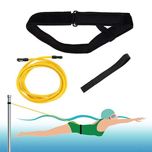 4 m Schwimm-Trageriemen, Schwimm-Trainingsleine, Stationäres Schwimmen, Schwimm-Geschirr, statischer Schwimm-Gürtel, Schwimm-Gummiseile, Widerstandsbänder, Reise-Netztasche (gelb)