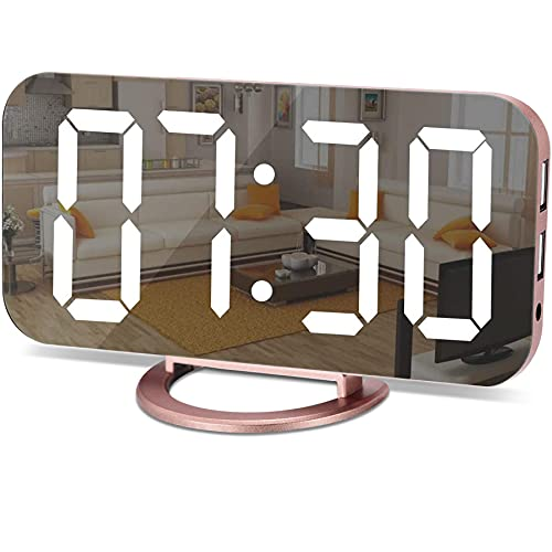 Alarm Clock for Bedroom,LED and Mirror Digital Clock Large...