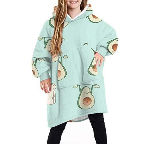 MoneRffi Child Hoodie Print Übergroße Decke Sherpa Sweatshirt Soft Warm Giant Pullover Fronttaschenpullover für Jungen Mädchen(Avocado,F)