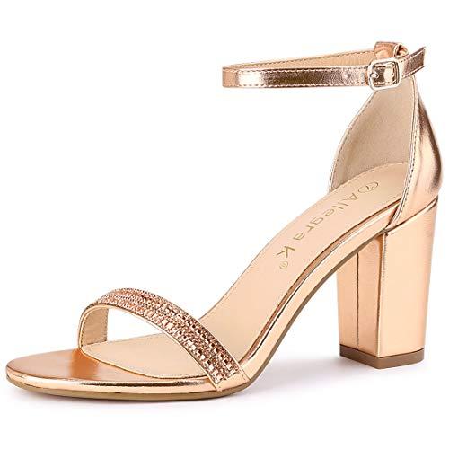 Allegra K Sandalias Tacones Gruesos Diamantes de imitación Correa de Tobillo para Mujer Oro Rosa 36