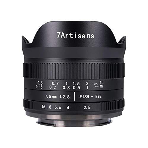 7Artisans 7.5mm F2.8 II Obiettivo per Fotocamera Mirrorless Fisheye APS-C per Canon M1 M2 M3 M5 M6 M10 M50 M100