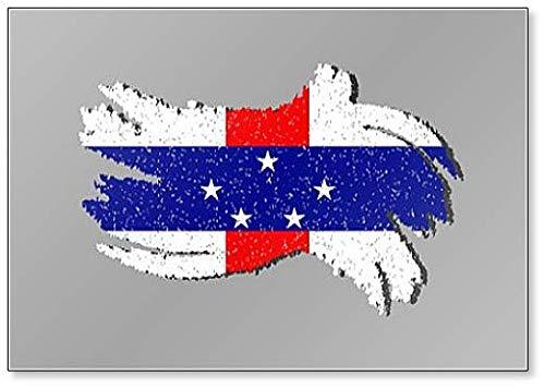 Grunge Nederland Antillen vlag, Nederlandse Antillen Vlag met Schaduw Illustratie Koelkast Magneet