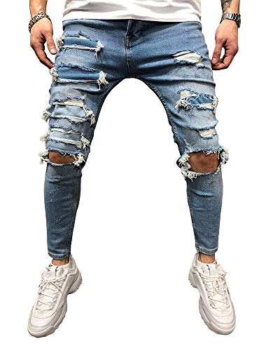 BMEIG Herren Skinny Jeans Männer Destroyed Ripped Slim Fit Zerrissene Distressed Stretch Denim klassisch Designer Vintage Stylisch Jeans Hose M-3XL Blau