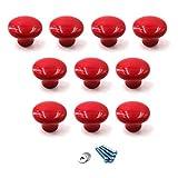 rojo Perillas redondas de cerámica Tirador de la...