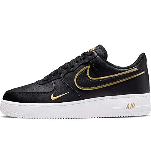 Nike Air Force 1 '07 Lv8, Scarpe da Basket Uomo, Black Black Black Metallic Gold White, 42 EU
