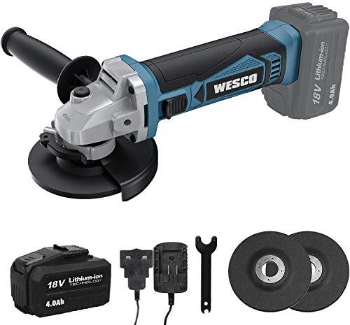 WESCO WS2333 - Smerigliatrice angolare a batteria, 18 V