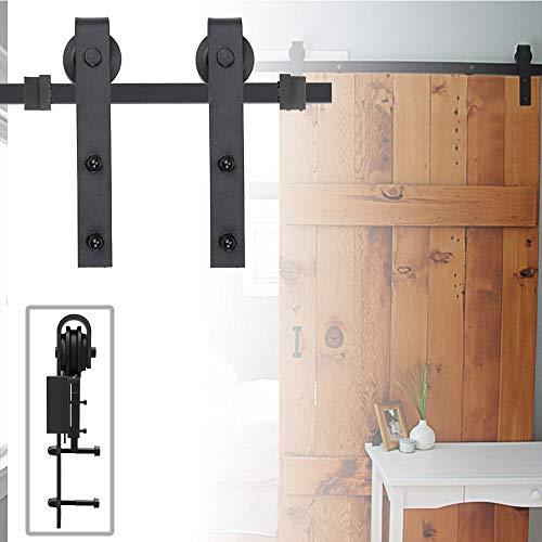 Aufun Schiebetürsystem Laufschiene 183 cm Schwarz Schiebetürbeschlag Set aus Kohlenstoffstahl Schiebetür für 35mm-45mm Dicke Holztür/Metalltüren Maximale Last 130KG, 183 cm