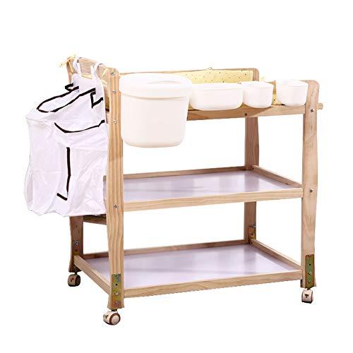 Table à Langer Portable avec Rangement, Organisateur De Couches pour Bébés Commode À Langer sur Roues (Bois Naturel)