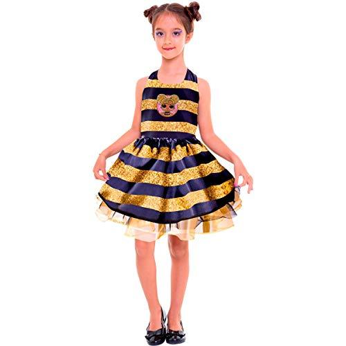 Fantasia Original da Lol Infantil Vestido Abelha Rainha Luxo (M 4-8)