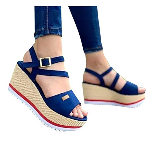 Women's Platform Sandals, Thick-Soled Casual One-Step Outdoor Sandals Canvas Buckle Strap EVA Wedge Heel Lazy Shoes