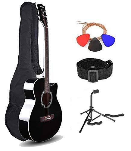 Kadence Frontier Series, Acoustic Guitar With/Wihtout EQ Die Cast Keys Combo (Bag,strap,strings and 3 picks stand) (Black, Acoustic)
