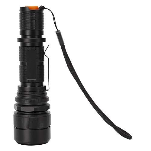 Antorcha eléctrica, cómoda linterna LED negra Luz blanca para acampar al aire libre para andar en bicicleta para escalar