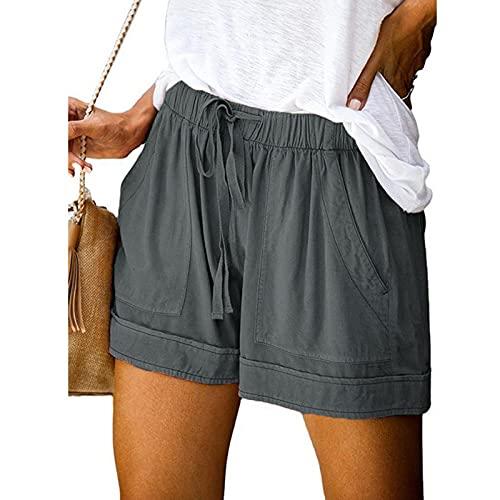 Pantalones de verano sueltos para mujer, cómodos, pantalones cortos con cordón, pantalones cortos informales con cintura elástica, anchos, con bolsillos, A-Dark Gray, XXXL