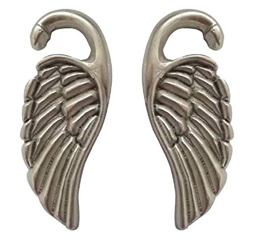 """Pesos de oreja de pareja plateados plata para lóbulos estirados - Dos pendientes dilataciones orejas en forma de Alas - Earrings Plugs """"WINGS"""" - Modelo original por artesano italiano - h 6,3 cm"""