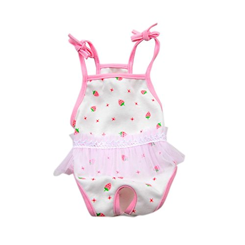 Stock Show Female Dog Diaper Dog Cute Summer Cotton Sanitary Pantie with Suspender Bathing Dress Jumpsuits Suspenders for Girl Dogs Puppy, Small Strawberry in Pink with Gauze, XL