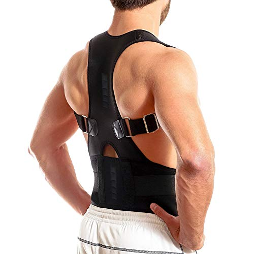 Thoracic Back Brace Posture Corrector- Magnetic Lumbar Back Support Belt-Back Pain Relief, Improve Thoracic Kyphosis, for Lower and Upper Back Pain Men & Women (Black, Small)