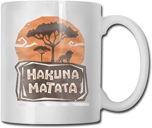 DJNGN Taza de café de cerámica blanca de 11 onzas Hakuna Matata Cups White