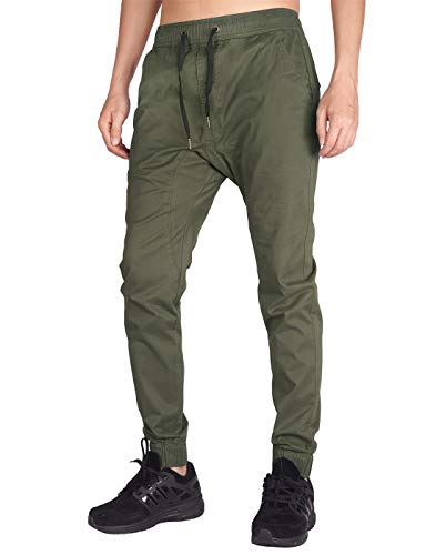 ITALYMORN Herren Chino Jogging Hose Casual Stoff Hose Chinohose Sporthose Slim Fit M Armeegrün