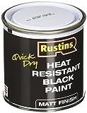 Rustins HRMB250 Quick Dry BlackPaint, Heat Resistant Black Paint 250ml