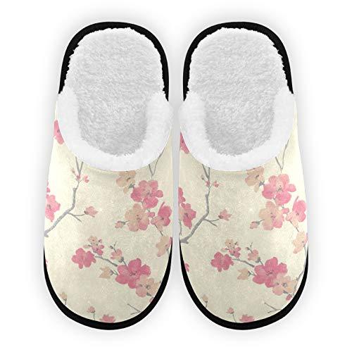 Herren Damen Hausschuhe Pflaumenblüten Vorhang Plüsch Futter Komfort Coral Fleece Hausschuhe Warm für Indoor Outdoor Spa