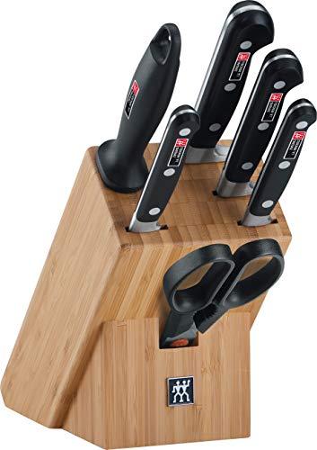 ZWILLING Bloque de cuchillos, 7 Piezas, Bloque de bambú, Cuchillos y tijeras de acero inoxidable especial/Mango de plástico, Profesional S