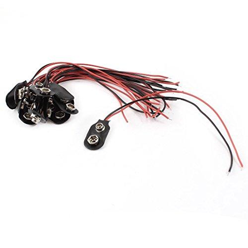 DealMux 15Pcs 15cm Wire 9V 9 Volt Battery Clip Connector T Type
