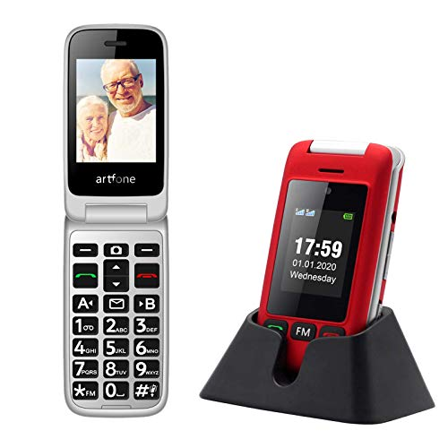 artfone C10 Big Button Mobile Phone for Elderly, Senior Flip Mobile Phone Dual SIM Unlocked Card with 2.4  Large Screen | SOS Button | Talking Numbers | FM Radio | Torch and Charging Cradle (Red)
